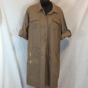 Ellen Tracy Shirt Dress Khaki size XL